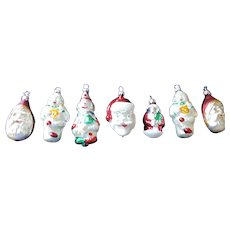 Mercury Glass Figural Ornaments, Santa Clauses and Clowns, Set of 7