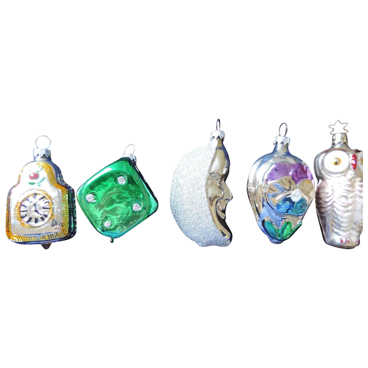 Group Of Five Mercury Glass Christmas Ornaments West Germany