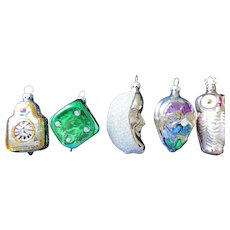 Group of Five Mercury Glass Christmas Ornaments, West Germany