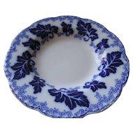 "Johnson Bros Normandy, Flow Blue Soup Bowl, 8 3/4"""