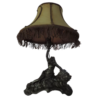 1920's Spelter Table Lamp, Maiden Riding A Dolphin on the Waves