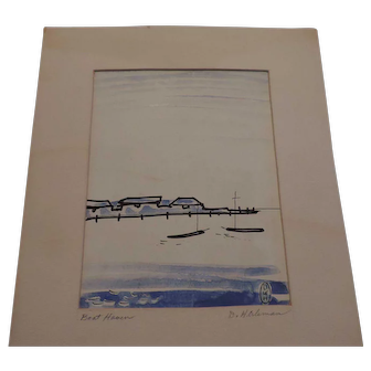 """Don Hirleman Watercolor, Boat Haven, 7"""" X 9 1/2"""", Matted"""