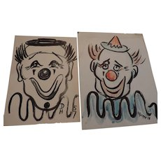 Don Hirleman Clowns, set of 2