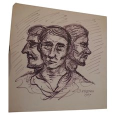 "Don Hirleman Triple Study, Self Portrait, 1957, 14"" X 14"""