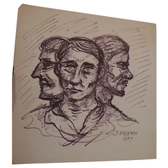 "Don Hirleman Triple Study, Self Portrait, 1957, 14"" X 14"""