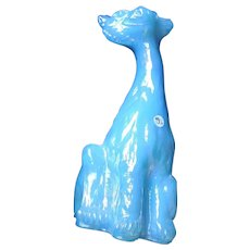 Fenton Art Glass Alley Cat, Baby Blue Iridescent