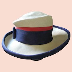1960's Cathay of California Straw Schoolgirl's Hat