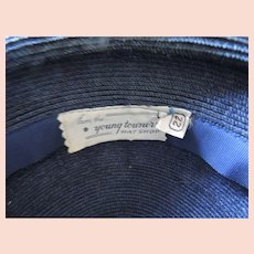 1950's Young Towners Hat Shop Navy Blue/Black Straw Hat