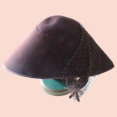 1950's Gladys Scott Brown Felt Winged Hat