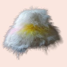 1960's White, Hot Pink, Yellow Marabou Hat
