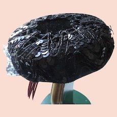 Black Velvet, Lace, Sequins Pillbox Hat