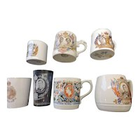 Collection of 7 English Commemorative Mugs and Beakers, 1902-1937