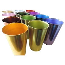 1950'-60's Bascal Anodized Aluminum Tumblers, Set of 12