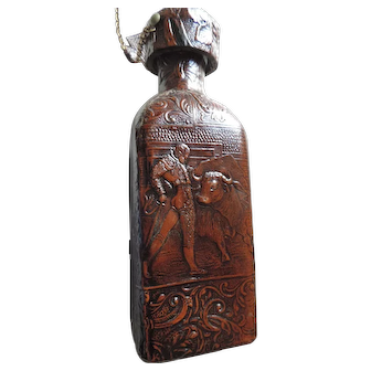 Leather Covered Whiskey Bottle, Bull Fighting Scenes, Espana