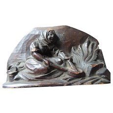 Black Forest Vignette Carving, Peasant Woman Cooking Over An Open Fire