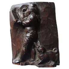 Black Forest Vignette Wood Carving, Man Teaching, Holding Slate, Dog Nipping At His Heels