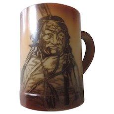 Westmoreland Fostoria Milk Glass Tankard in Brown with Indian Brave
