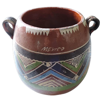 Old Mexican Red Ware, Folk Art, Zig Zag Pattern, Polychrome Pot