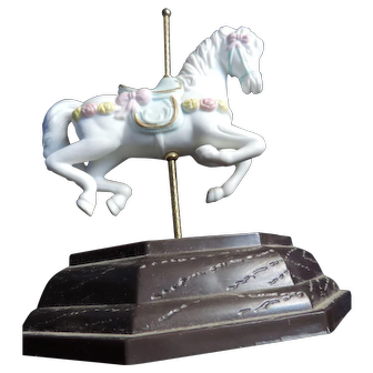 Teleflora White Ceramic Carousel Horse and Stand