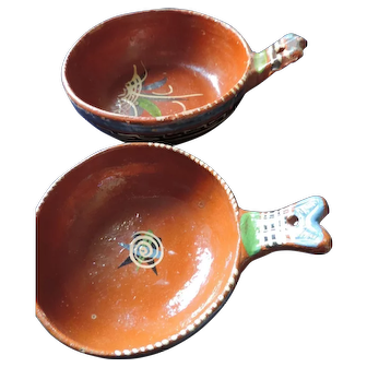 Mexican Folk Art Redware Nesting Bowls With Handles, Set Of 2