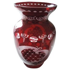 Bohemian Glass, Ruby Cut To Clear Vase, 8 3/4""