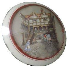 Round English Inn Scene Lithograph, Peter Watsons Studio
