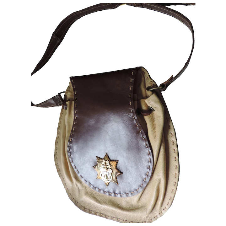 Saddle Bag Purse Satchel Brown And Tan Leather Brass 8 Point Star Badge