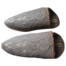 Ottoman Empire Shoes, Leather Soles, Bronze Bullion Embroidery