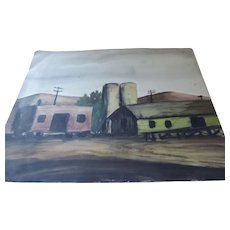 "Don Hirleman Watercolor, Farm Scene, 11"" X 14 1/2"""