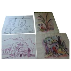 "Don Hirleman Watercolor Sketches, 8"" X 11"", Set of 4"