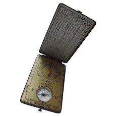 SUNWATCH, Pocket Sundial, Compass, Brass Case, 1921