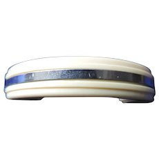 1950's Ivory Bakelite and Chrome Drawer Pulls, Set of 20