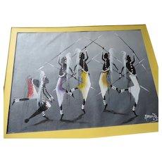 """Muanza. """"Night Shift"""", Acrylic Oil Painting, Ashanti Warriors Dancing, 11"""" X 15"""""""