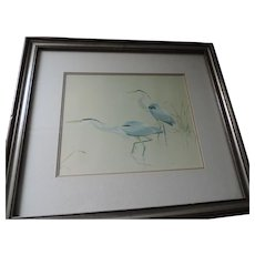 "G. Loates Lithograph, Great Blue Heron, 8"" X 10"", Framed 14"" X 16"""