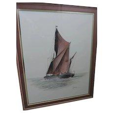 "Joel Kirk Lithograph, Sailboat, 8"" X 10"", Rosewood Frame , 15 1/4"" X 17 1/4"""