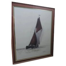 """Joel Kirk Lithograph, Sailboat, 8"""" X 10"""", Professionally Framed, Rosewood, 15"""" X 17 1/4"""""""