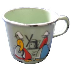 Child's Green Enameled Tin Cup, Dutch Girls, Windmill, Germany