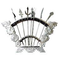 Oriental Sterling Silver Dragon  Hors Deouvres Rack & Picks