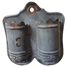 Grey Graniteware Match Holder, Two Compartment, with Striker