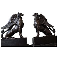 Solid Bronze Figural Gryphon Bookends