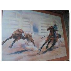 """Dan McManus Print, """"Rodeo Ropin"""", Barnwood Frame, 20"""" X 24"""""""