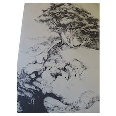 "Mildred Bryant Brooks Etching, ""Horizon's Rim"""