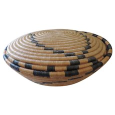 "Large Pueblo Basket and Lid, Coil Construction, Diamond Pattern, 6"" X 15"""