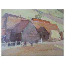"""Frank Neville Watercolor Print, """"Landscape Near West Whickham"""""""