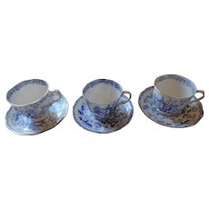 Royal Albert Crown China Blue Willow Cups and Saucers, 3 Sets(6 Pieces)