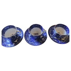 Old Blue Willow Cups and Saucers, Set of 3 (6 Pieces), Unmarked