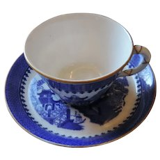 Royal Worcester Blue Willow Demitasse Cup and Saucer, 1894