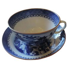 Large Blue Willow Cup and Saucer