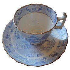 Blue Willow Cup and Saucer, Powder Blue, Gold Trim