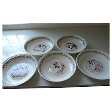 Minton Creamware Brown Transfer Scenes From Shakespeare Bowls, 1874